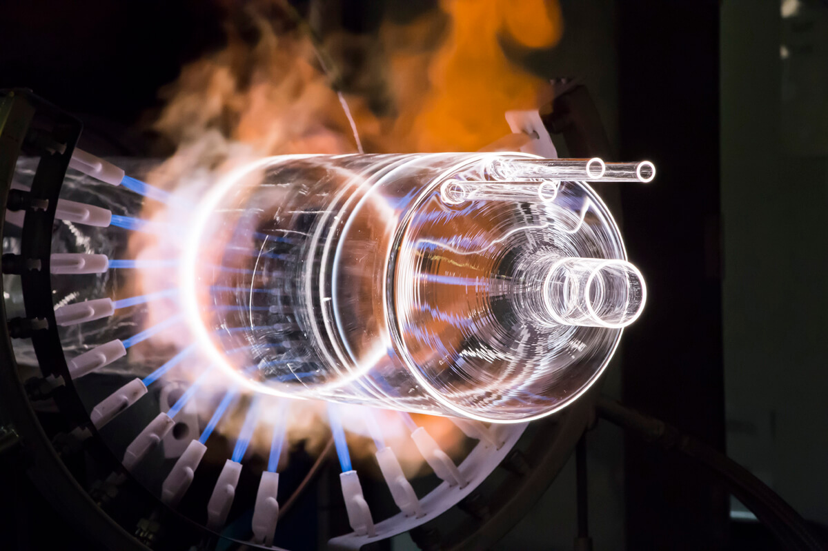 Industrial Photography of Glass Making Process